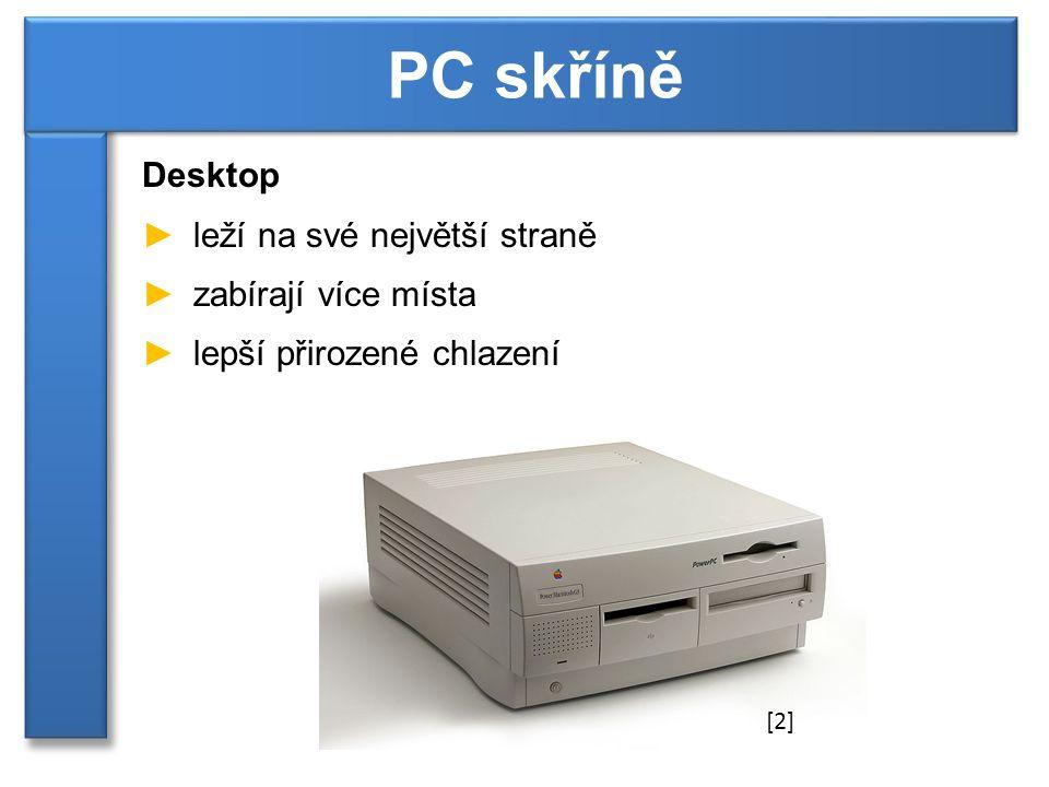 Desktop ►leží na své největší straně ►zabírají více místa ►lepší přirozené chlazení PC skříně [2]