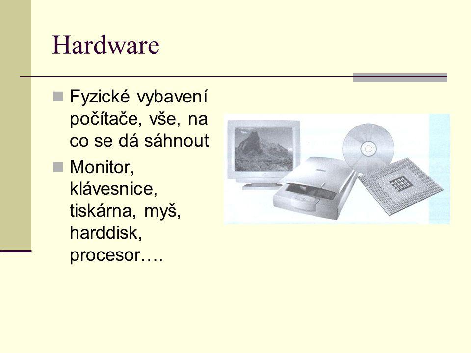 Hardware Fyzické vybavení počítače, vše, na co se dá sáhnout Monitor, klávesnice, tiskárna, myš, harddisk, procesor….