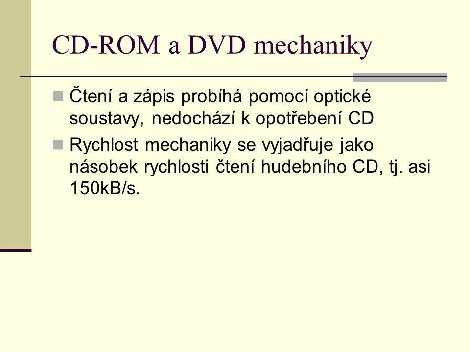 CD-ROM a DVD mechaniky Čtení a zápis probíhá pomocí optické soustavy, nedochází k opotřebení CD Rychlost mechaniky se vyjadřuje jako násobek rychlosti čtení hudebního CD, tj.