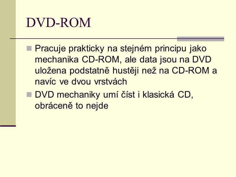 DVD-ROM Pracuje prakticky na stejném principu jako mechanika CD-ROM, ale data jsou na DVD uložena podstatně hustěji než na CD-ROM a navíc ve dvou vrstvách DVD mechaniky umí číst i klasická CD, obráceně to nejde