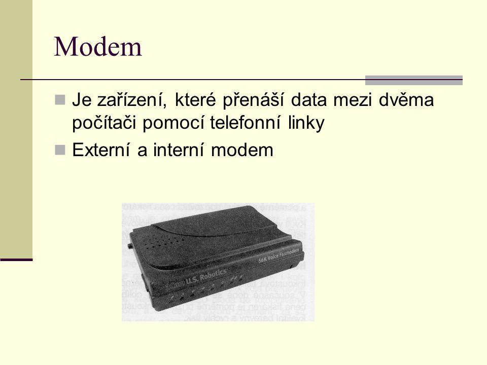 Modem Je zařízení, které přenáší data mezi dvěma počítači pomocí telefonní linky Externí a interní modem