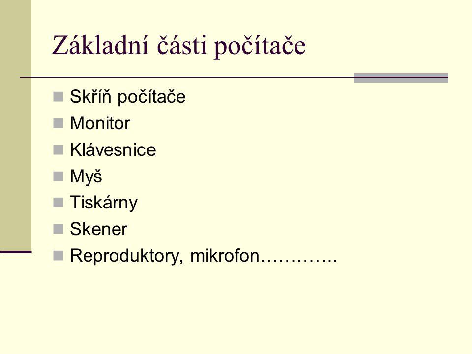 Základní části počítače Skříň počítače Monitor Klávesnice Myš Tiskárny Skener Reproduktory, mikrofon………….
