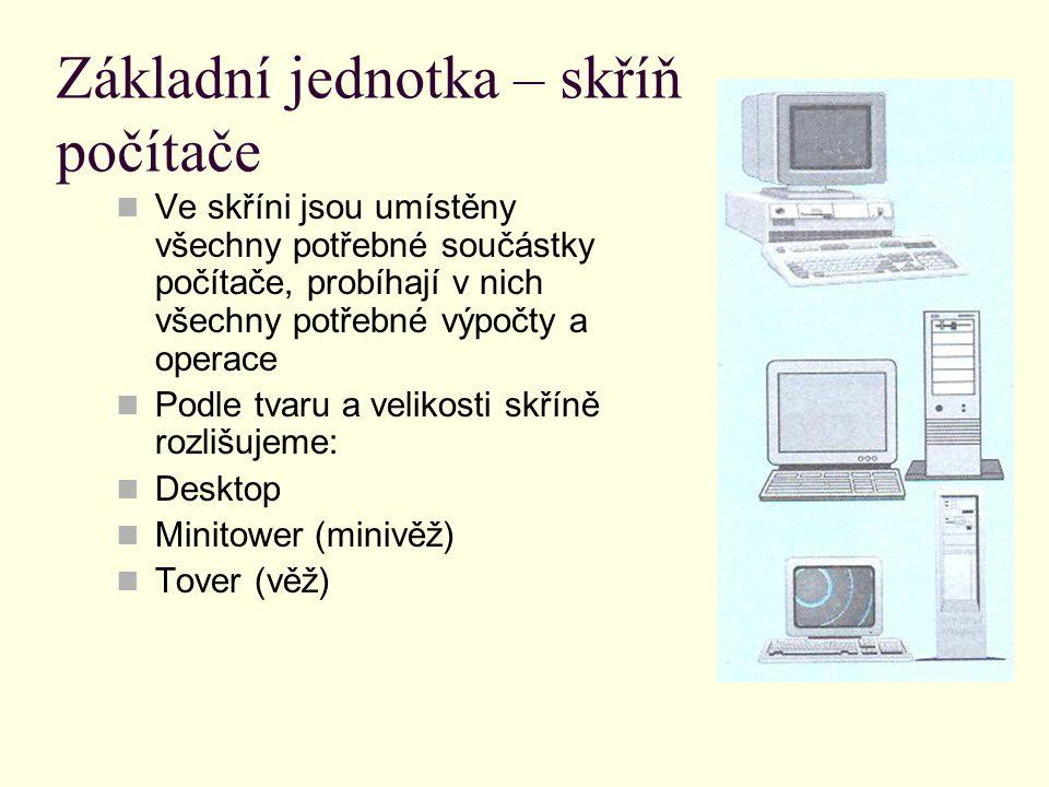 Základní jednotka – skříň počítače Ve skříni jsou umístěny všechny potřebné součástky počítače, probíhají v nich všechny potřebné výpočty a operace Podle tvaru a velikosti skříně rozlišujeme: Desktop Minitower (minivěž) Tover (věž)