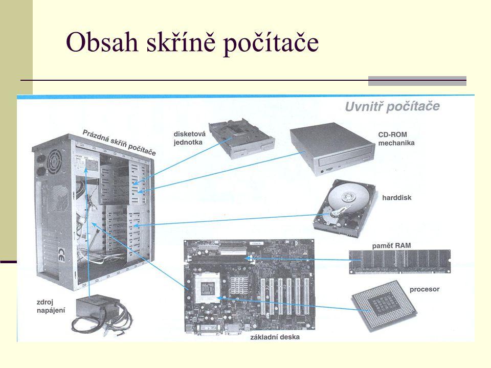 Obsah skříně počítače
