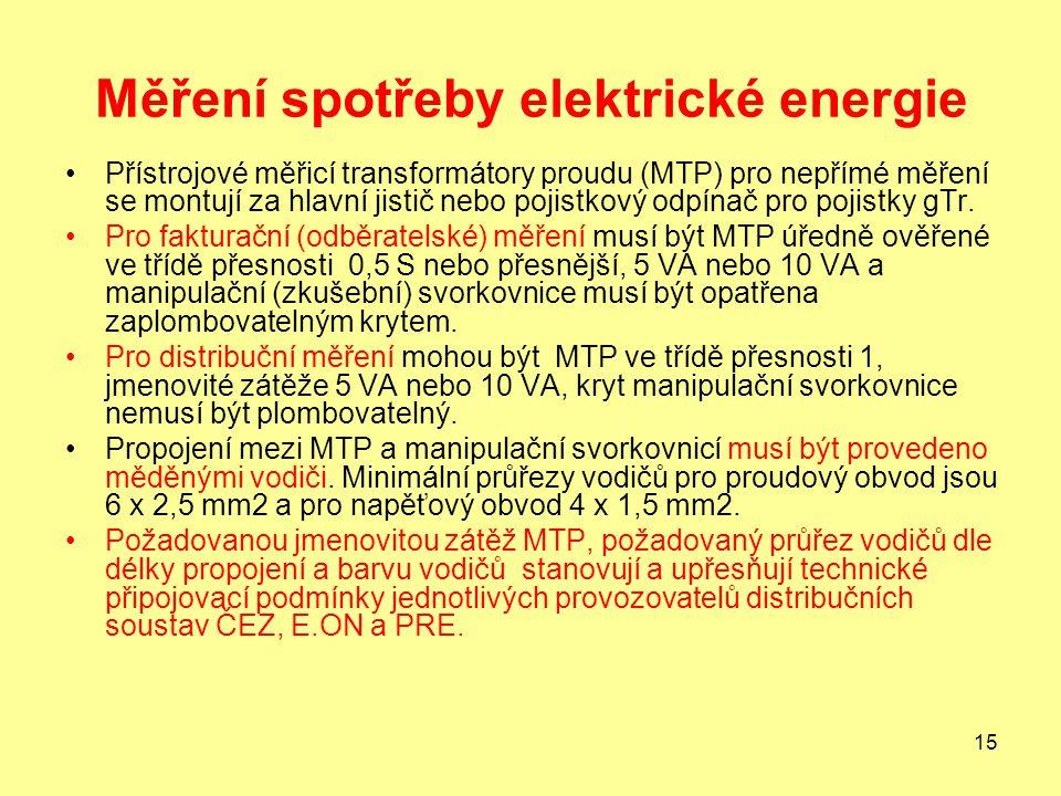 15 Měření spotřeby elektrické energie Přístrojové měřicí transformátory proudu (MTP) pro nepřímé měření se montují za hlavní jistič nebo pojistkový odpínač pro pojistky gTr.