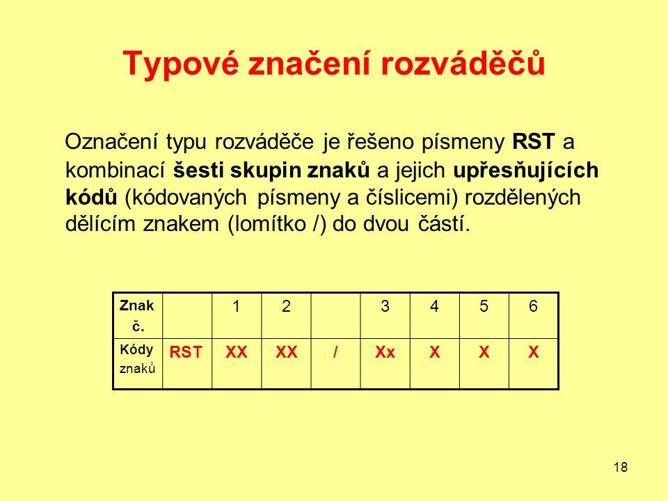 18 Typové značení rozváděčů Označení typu rozváděče je řešeno písmeny RST a kombinací šesti skupin znaků a jejich upřesňujících kódů (kódovaných písmeny a číslicemi) rozdělených dělícím znakem (lomítko /) do dvou částí.