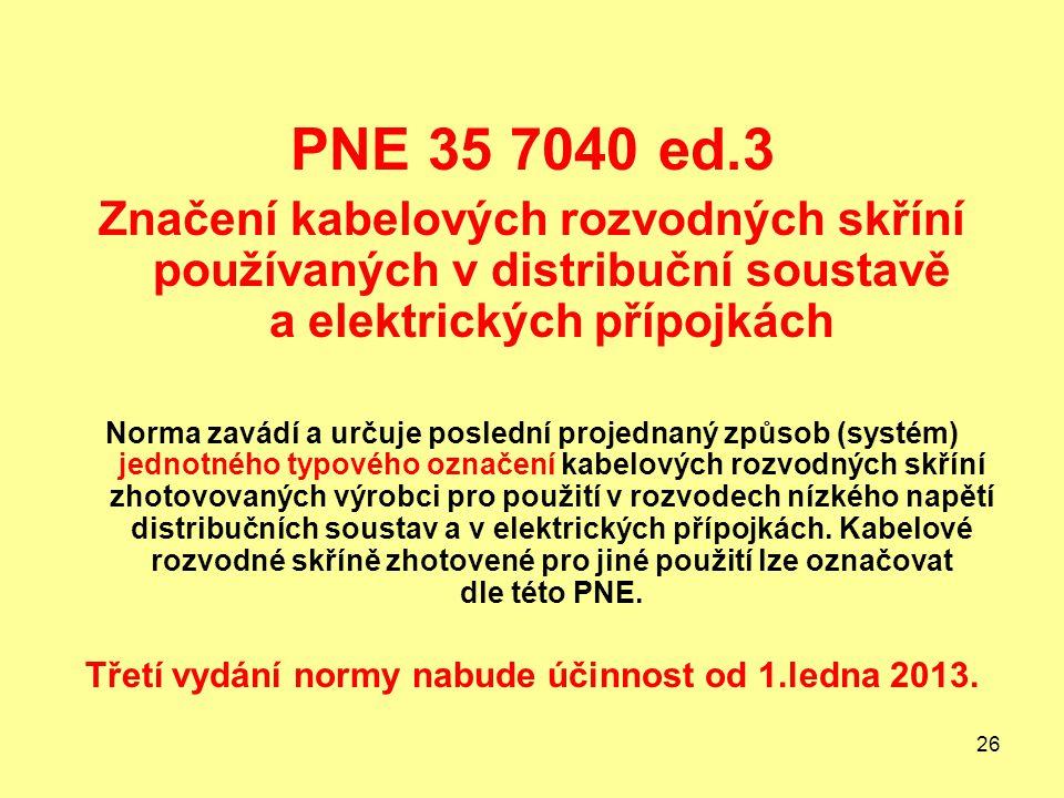 26 PNE 35 7040 ed.3 Značení kabelových rozvodných skříní používaných v distribuční soustavě a elektrických přípojkách Norma zavádí a určuje poslední projednaný způsob (systém) jednotného typového označení kabelových rozvodných skříní zhotovovaných výrobci pro použití v rozvodech nízkého napětí distribučních soustav a v elektrických přípojkách.