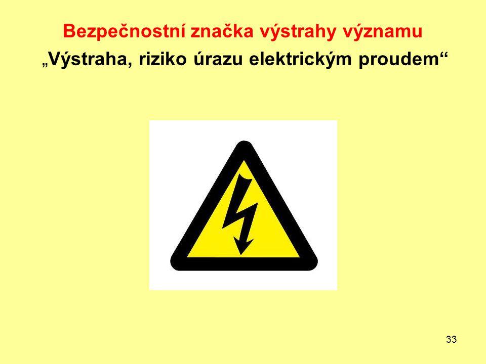 """33 Bezpečnostní značka výstrahy významu """"Výstraha, riziko úrazu elektrickým proudem"""