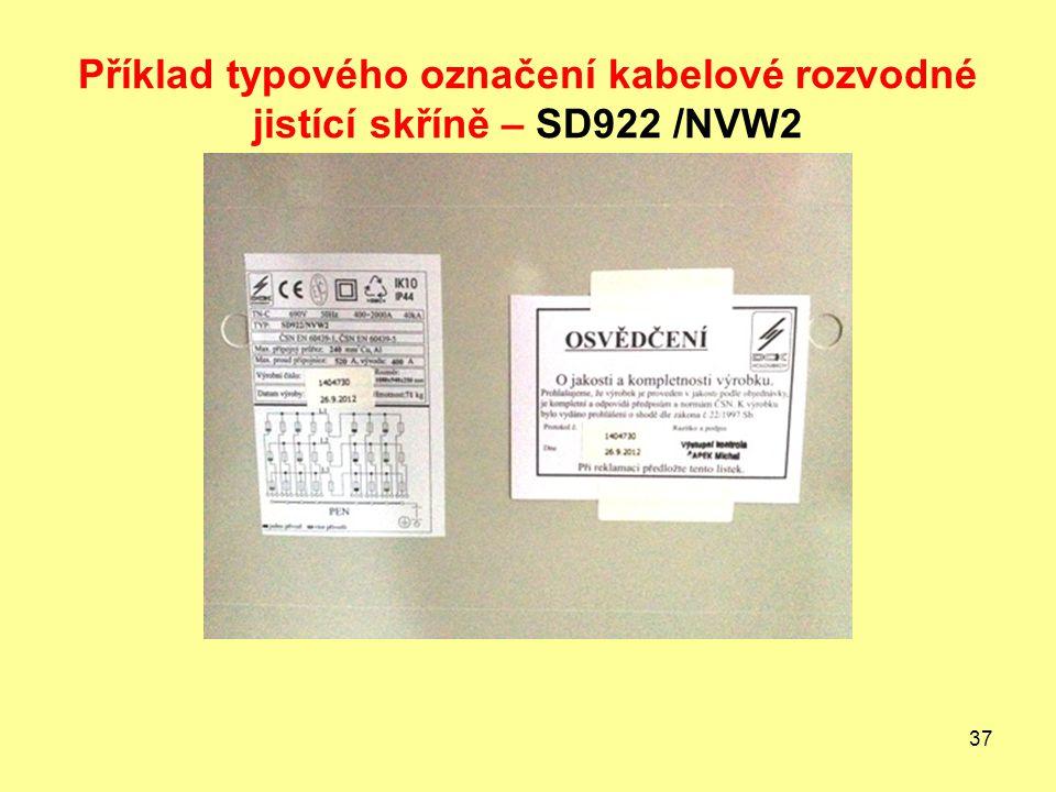 37 Příklad typového označení kabelové rozvodné jistící skříně – SD922 /NVW2