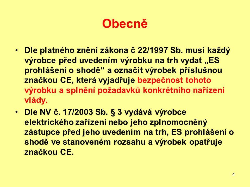 4 Obecně Dle platného znění zákona č 22/1997 Sb.