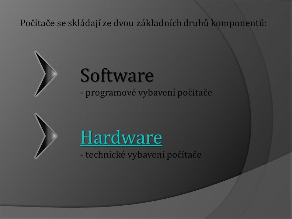 Software - programové vybavení počítače HHHH aaaa rrrr dddd wwww aaaa rrrr eeee - technické vybavení počítače Počítače se skládají ze dvou základních druhů komponentů: