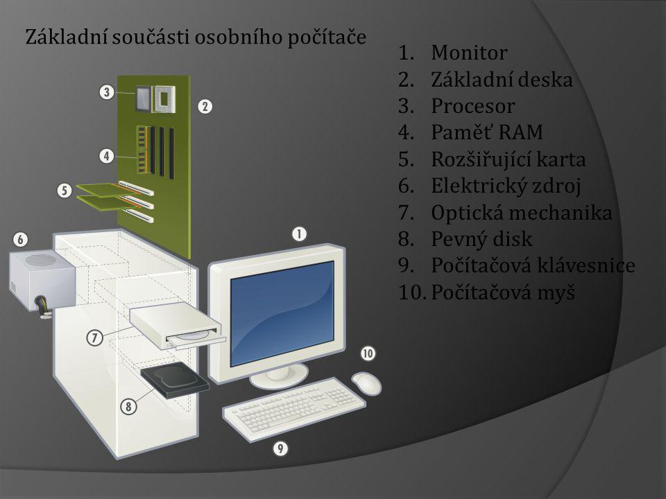 1.Monitor 2.Základní deska 3.Procesor 4.Paměť RAM 5.Rozšiřující karta 6.Elektrický zdroj 7.Optická mechanika 8.Pevný disk 9.Počítačová klávesnice 10.Počítačová myš Základní součásti osobního počítače