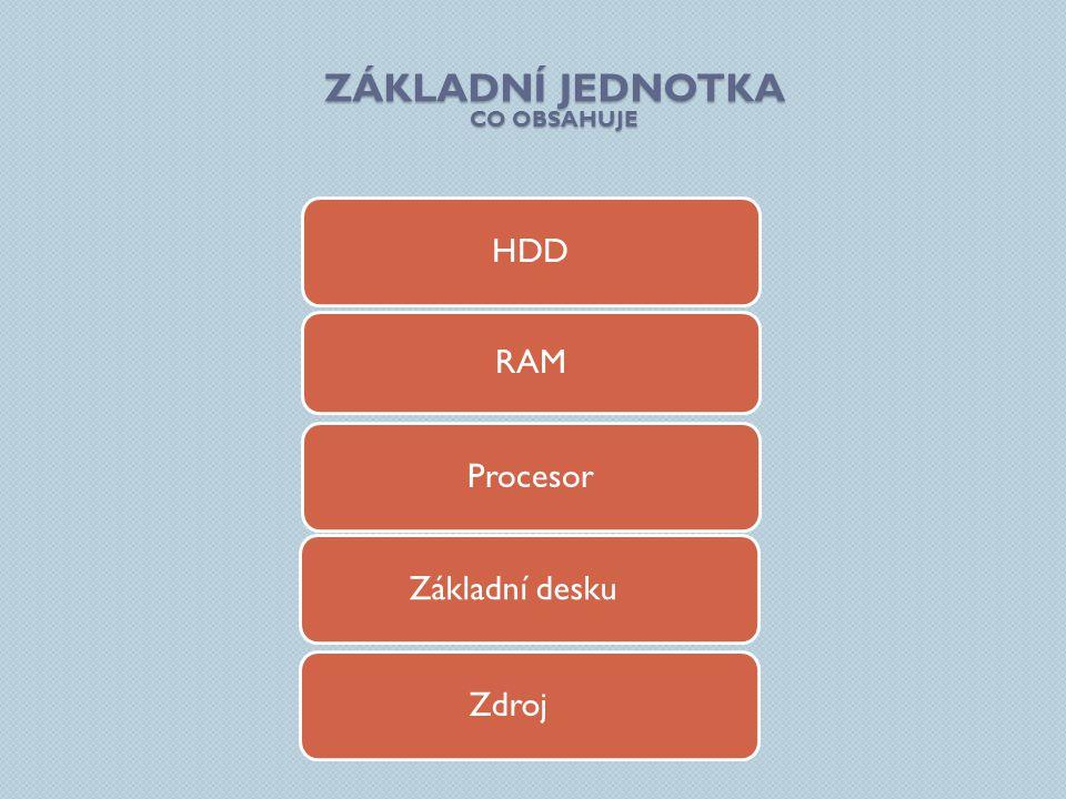HDD Procesor Základní desku RAM ZÁKLADNÍ JEDNOTKA CO OBSAHUJE Zdroj