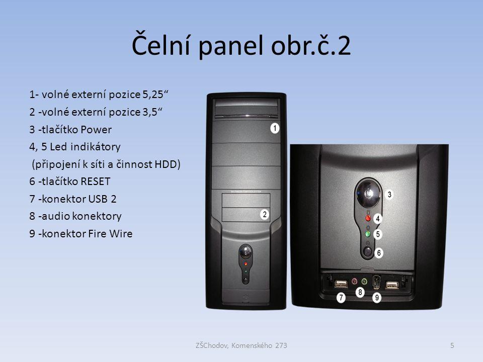 """Čelní panel obr.č.2 ZŠChodov, Komenského 2735 1- volné externí pozice 5,25"""" 2 -volné externí pozice 3,5"""" 3 -tlačítko Power 4, 5 Led indikátory (připoj"""