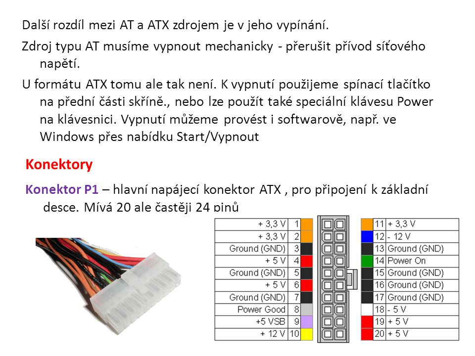 Další rozdíl mezi AT a ATX zdrojem je v jeho vypínání. Zdroj typu AT musíme vypnout mechanicky - přerušit přívod síťového napětí. U formátu ATX tomu a