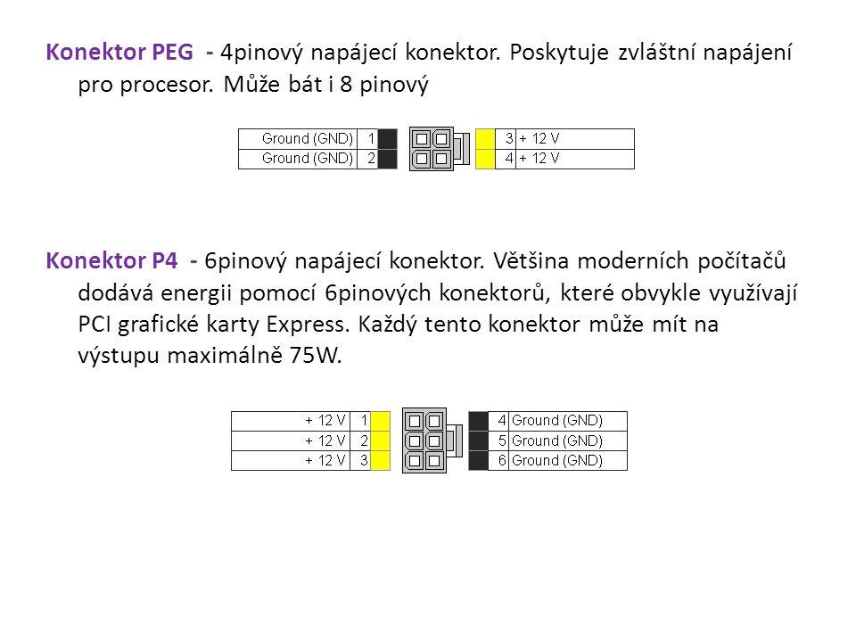Konektor PEG - 4pinový napájecí konektor. Poskytuje zvláštní napájení pro procesor. Může bát i 8 pinový Konektor P4 - 6pinový napájecí konektor. Větši