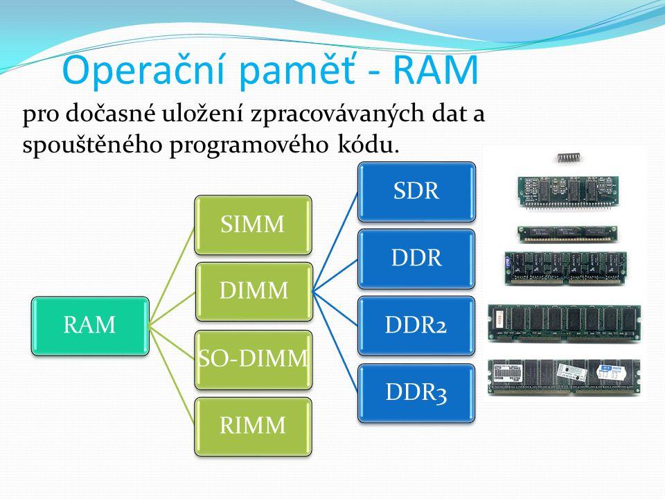 pro dočasné uložení zpracovávaných dat a spouštěného programového kódu. RAMSIMMDIMMSDRDDRDDR2DDR3SO-DIMMRIMM Operační paměť - RAM