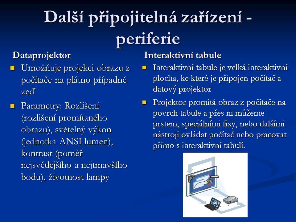 Další připojitelná zařízení - periferie Dataprojektor Umožňuje projekci obrazu z počítače na plátno případně zeď Parametry: Rozlišení (rozlišení promí