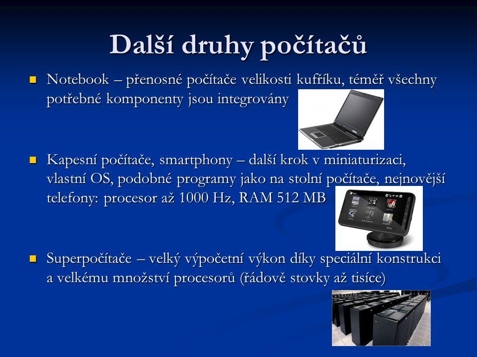 Další druhy počítačů Notebook – přenosné počítače velikosti kufříku, téměř všechny potřebné komponenty jsou integrovány Notebook – přenosné počítače v