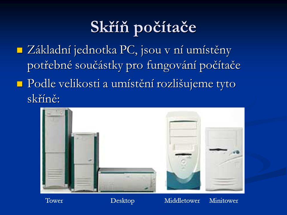 Skříň počítače Základní jednotka PC, jsou v ní umístěny potřebné součástky pro fungování počítače Základní jednotka PC, jsou v ní umístěny potřebné so