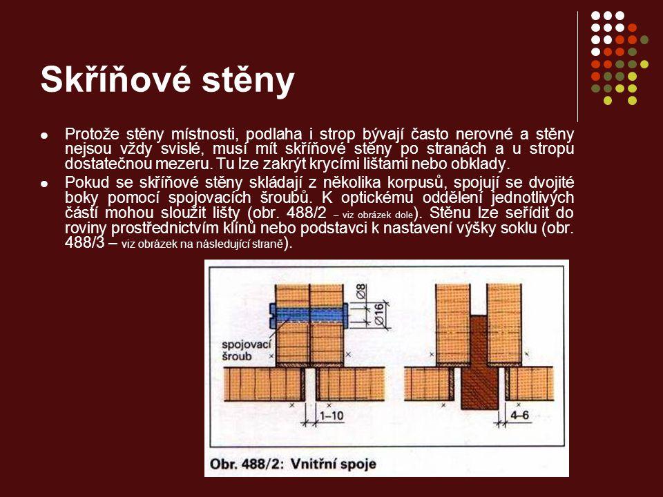 Skříňové stěny Velké vestavěné skříně se nesmějí napevno sestavovat dohromady v dílně, protože je takto lze jen velmi obtížně přenášet dveřmi a p schodech.