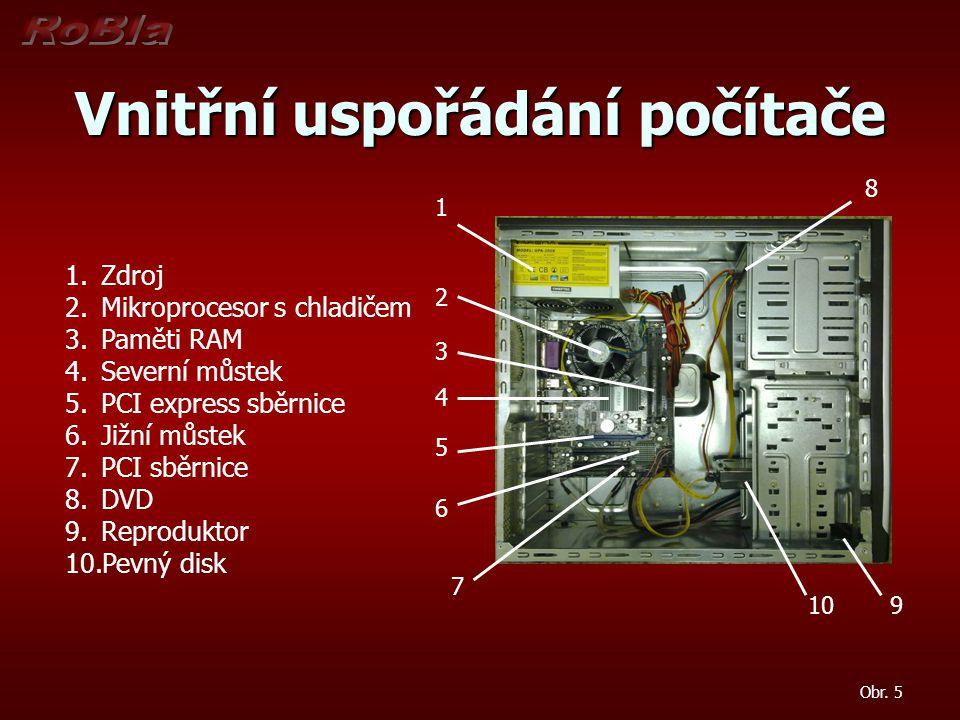 Vnitřní uspořádání počítače 1 2 3 4 5 6 7 8 9 10 1.Zdroj 2.Mikroprocesor s chladičem 3.Paměti RAM 4.Severní můstek 5.PCI express sběrnice 6.Jižní můst