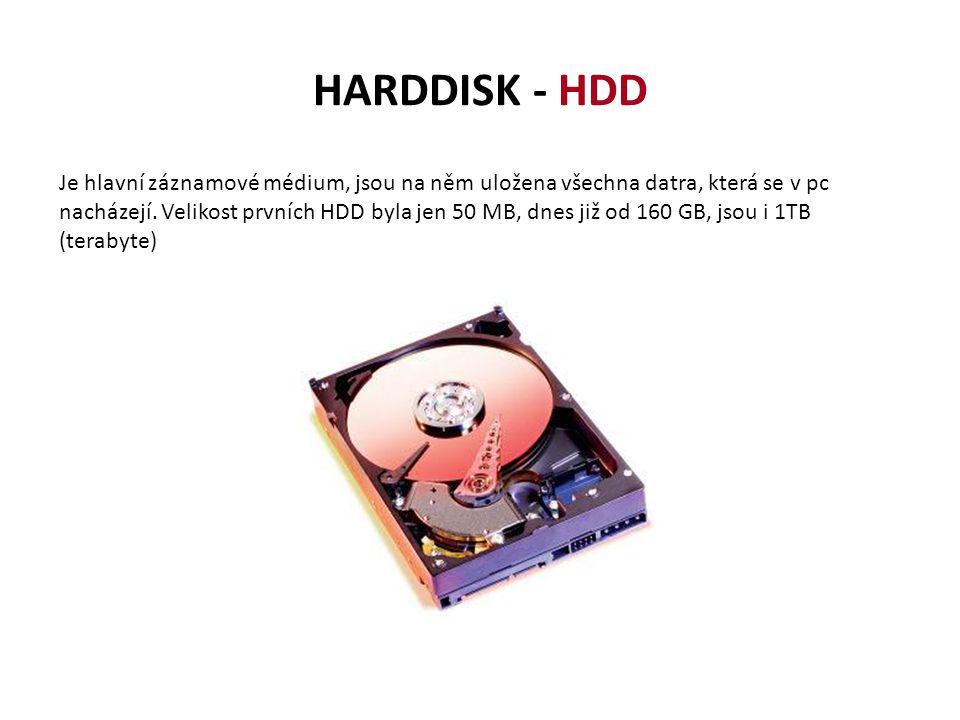 HARDDISK - HDD Je hlavní záznamové médium, jsou na něm uložena všechna datra, která se v pc nacházejí. Velikost prvních HDD byla jen 50 MB, dnes již o