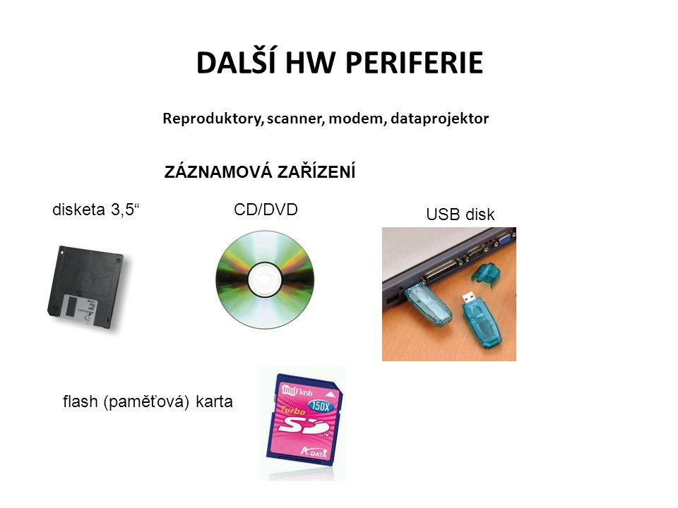 """DALŠÍ HW PERIFERIE Reproduktory, scanner, modem, dataprojektor ZÁZNAMOVÁ ZAŘÍZENÍ disketa 3,5""""CD/DVD USB disk flash (paměťová) karta"""