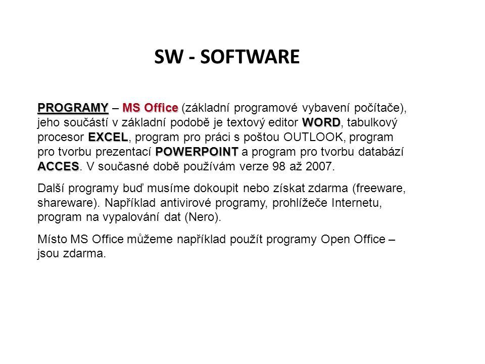 SW - SOFTWARE PROGRAMYMS Office WORD EXCEL POWERPOINT ACCES PROGRAMY – MS Office (základní programové vybavení počítače), jeho součástí v základní pod
