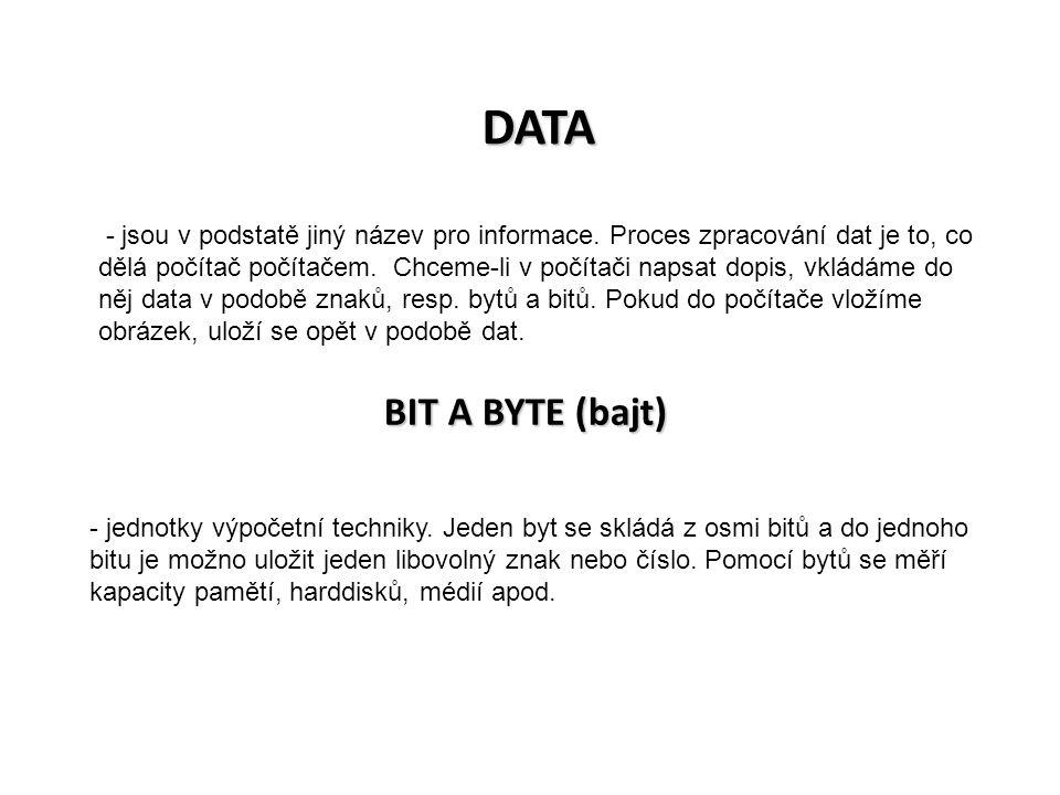 DATA - jsou v podstatě jiný název pro informace. Proces zpracování dat je to, co dělá počítač počítačem. Chceme-li v počítači napsat dopis, vkládáme d