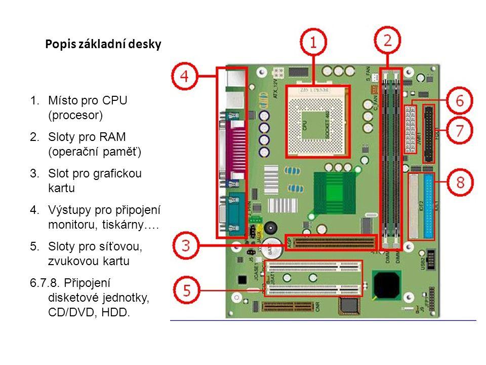 Popis základní desky 1.Místo pro CPU (procesor) 2.Sloty pro RAM (operační paměť) 3.Slot pro grafickou kartu 4.Výstupy pro připojení monitoru, tiskárny