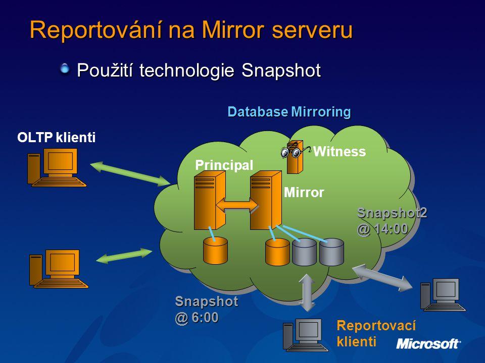 Reportování na Mirror serveru Použití technologie Snapshot Mirror Principal Reportovací klienti Database Mirroring OLTP klienti Snapshot @ 6:00 Witness Snapshot2 @ 14:00