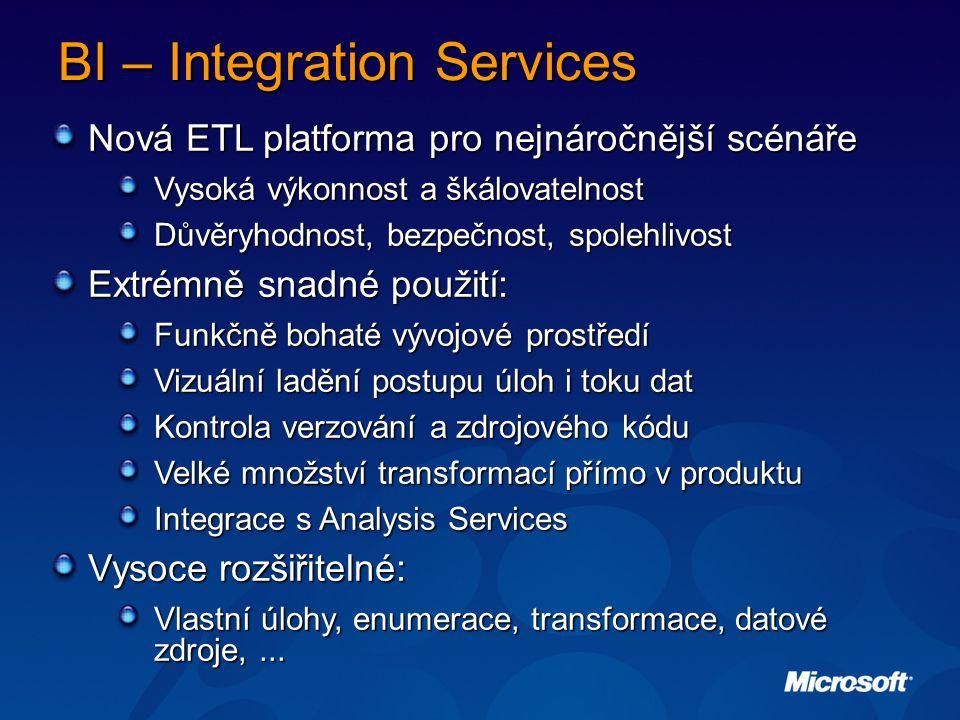 BI – Integration Services Nová ETL platforma pro nejnáročnější scénáře Vysoká výkonnost a škálovatelnost Důvěryhodnost, bezpečnost, spolehlivost Extrémně snadné použití: Funkčně bohaté vývojové prostředí Vizuální ladění postupu úloh i toku dat Kontrola verzování a zdrojového kódu Velké množství transformací přímo v produktu Integrace s Analysis Services Vysoce rozšiřitelné: Vlastní úlohy, enumerace, transformace, datové zdroje,...
