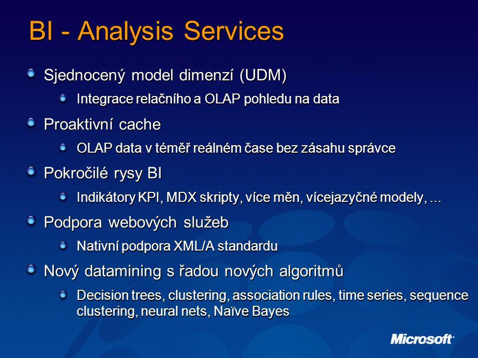 BI - Analysis Services Sjednocený model dimenzí (UDM) Integrace relačního a OLAP pohledu na data Proaktivní cache OLAP data v téměř reálném čase bez zásahu správce Pokročilé rysy BI Indikátory KPI, MDX skripty, více měn, vícejazyčné modely,...