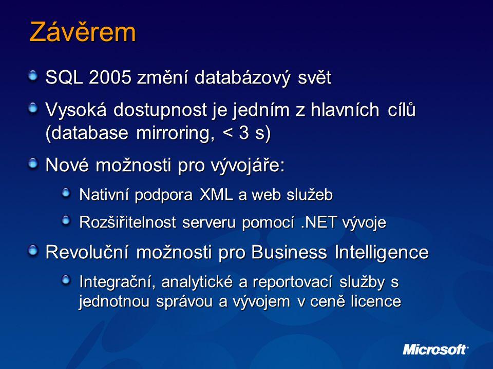 Závěrem SQL 2005 změní databázový svět Vysoká dostupnost je jedním z hlavních cílů (database mirroring, < 3 s) Nové možnosti pro vývojáře: Nativní podpora XML a web služeb Rozšiřitelnost serveru pomocí.NET vývoje Revoluční možnosti pro Business Intelligence Integrační, analytické a reportovací služby s jednotnou správou a vývojem v ceně licence