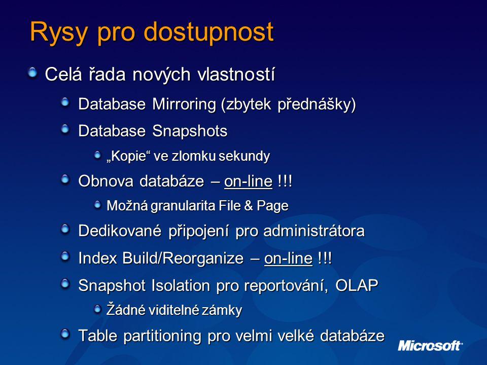 """Rysy pro dostupnost Celá řada nových vlastností Database Mirroring (zbytek přednášky) Database Snapshots """"Kopie ve zlomku sekundy Obnova databáze – on-line !!."""
