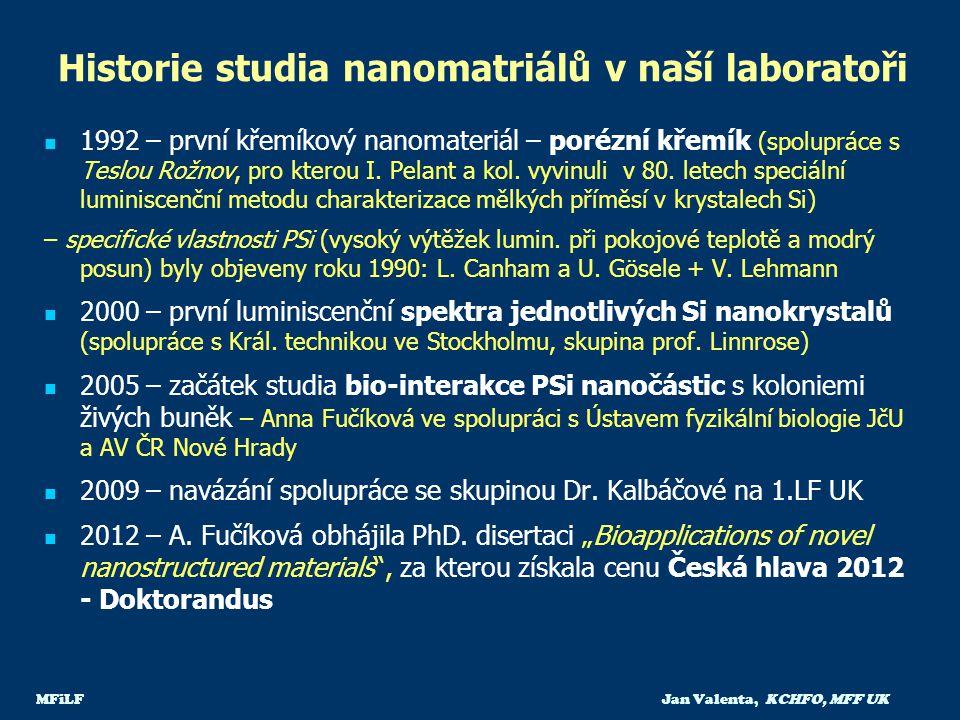 MFiLF Jan Valenta, KCHFO, MFF UK Historie studia nanomatriálů v naší laboratoři 1992 – první křemíkový nanomateriál – porézní křemík (spolupráce s Tes