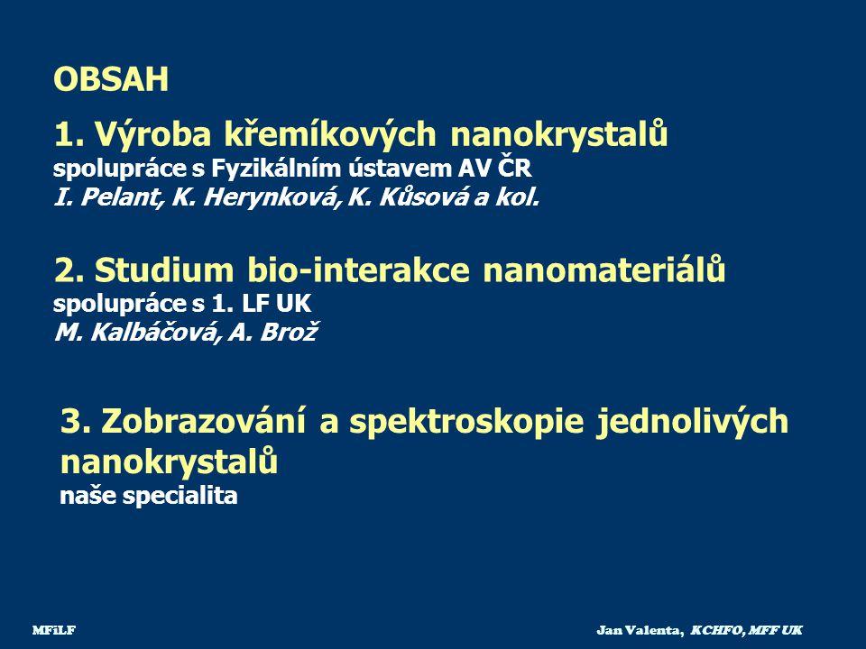 MFiLF Jan Valenta, KCHFO, MFF UK OBSAH 1. Výroba křemíkových nanokrystalů spolupráce s Fyzikálním ústavem AV ČR I. Pelant, K. Herynková, K. Kůsová a k
