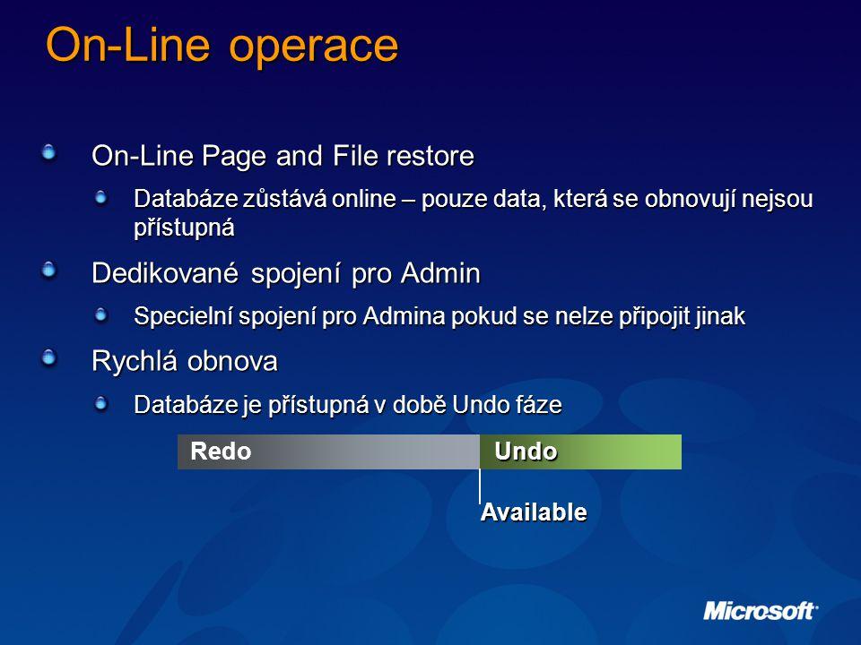 On-Line operace On-Line Page and File restore Databáze zůstává online – pouze data, která se obnovují nejsou přístupná Dedikované spojení pro Admin Specielní spojení pro Admina pokud se nelze připojit jinak Rychlá obnova Databáze je přístupná v době Undo fáze UndoRedo Available