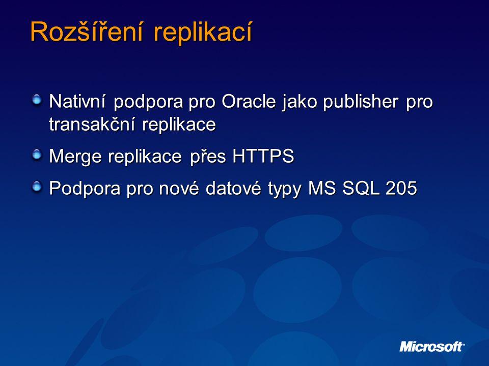 Rozšíření replikací Nativní podpora pro Oracle jako publisher pro transakční replikace Merge replikace přes HTTPS Podpora pro nové datové typy MS SQL 205