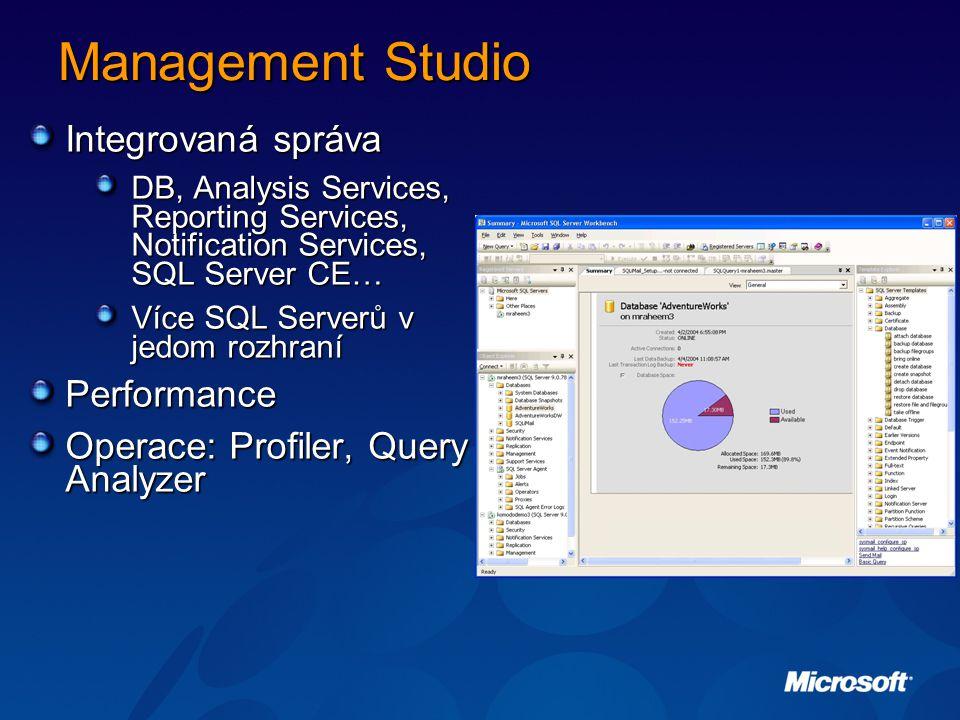 Management Studio Integrovaná správa DB, Analysis Services, Reporting Services, Notification Services, SQL Server CE… Více SQL Serverů v jedom rozhraní Performance Operace: Profiler, Query Analyzer