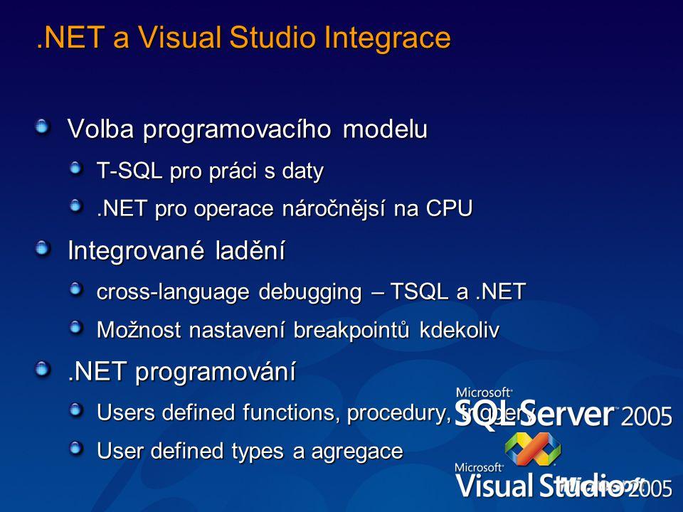 .NET a Visual Studio Integrace Volba programovacího modelu T-SQL pro práci s daty.NET pro operace náročnějsí na CPU Integrované ladění cross-language debugging – TSQL a.NET Možnost nastavení breakpointů kdekoliv.NET programování Users defined functions, procedury, triggery User defined types a agregace
