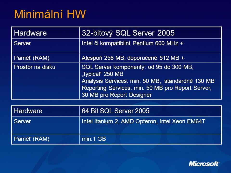 """Minimální HW Hardware32-bitový SQL Server 2005 ServerIntel či kompatibilní Pentium 600 MHz + Paměť (RAM)Alespoň 256 MB; doporučené 512 MB + Prostor na diskuSQL Server komponenty: od 95 do 300 MB, """"typical 250 MB Analysis Services: min."""