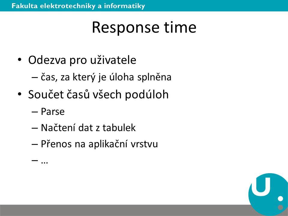 Response time Odezva pro uživatele – čas, za který je úloha splněna Součet časů všech podúloh – Parse – Načtení dat z tabulek – Přenos na aplikační vrstvu – …