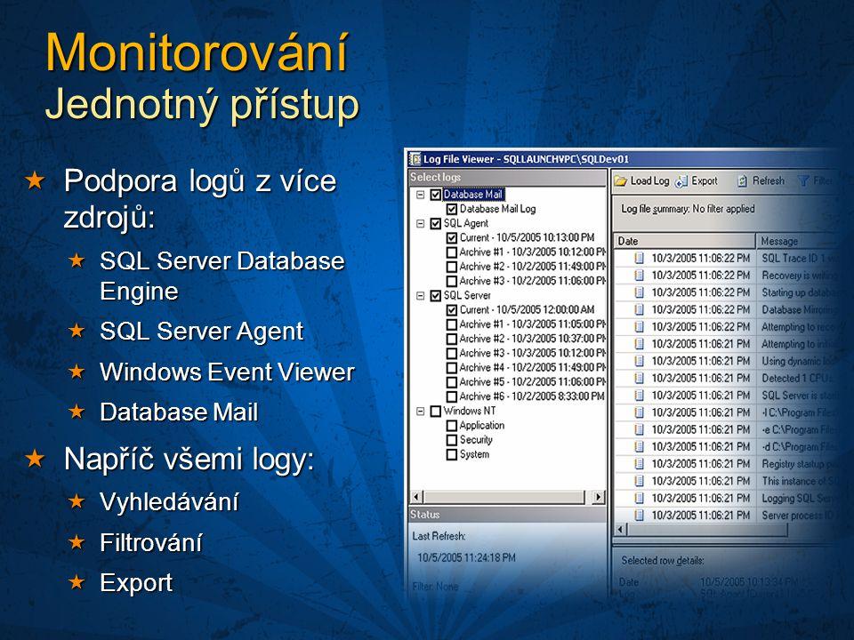 Monitorování Jednotný přístup  Podpora logů z více zdrojů:  SQL Server Database Engine  SQL Server Agent  Windows Event Viewer  Database Mail  Napříč všemi logy:  Vyhledávání  Filtrování  Export