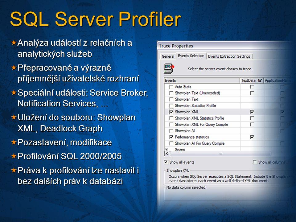  Analýza událostí z relačních a analytických služeb  Přepracované a výrazně příjemnější uživatelské rozhraní  Speciální události: Service Broker, Notification Services,...