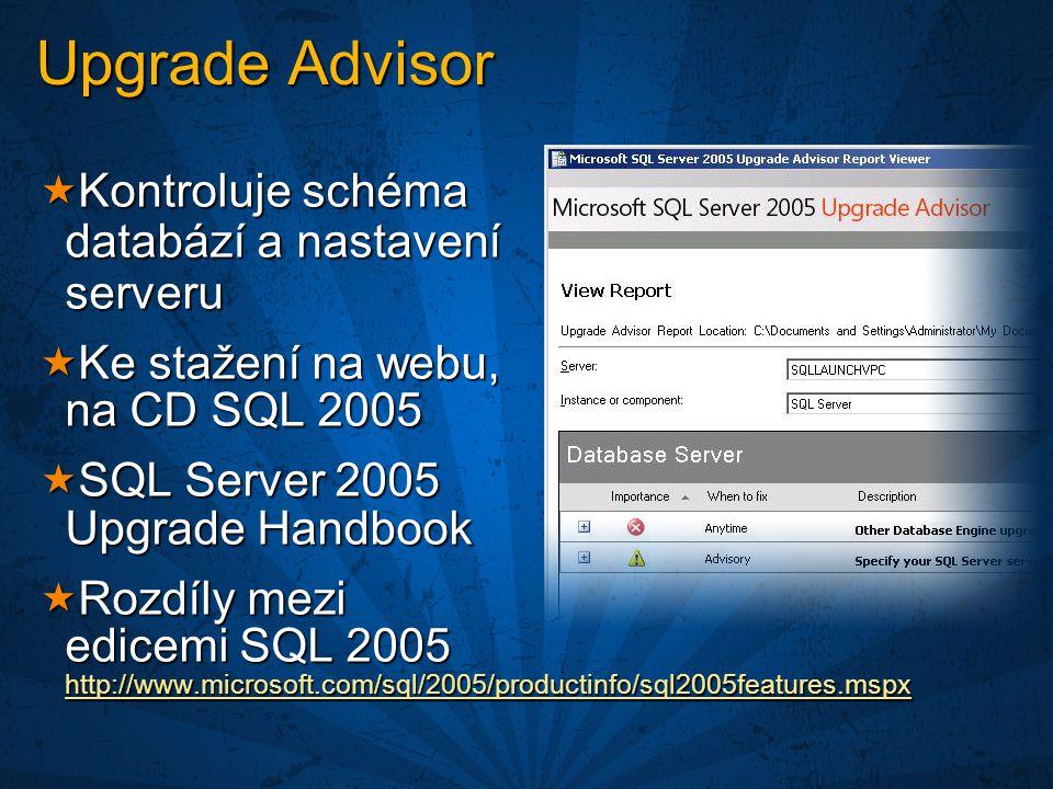  Kontroluje schéma databází a nastavení serveru  Ke stažení na webu, na CD SQL 2005  SQL Server 2005 Upgrade Handbook  Rozdíly mezi edicemi SQL 2005 http://www.microsoft.com/sql/2005/productinfo/sql2005features.mspx http://www.microsoft.com/sql/2005/productinfo/sql2005features.mspx Upgrade Advisor