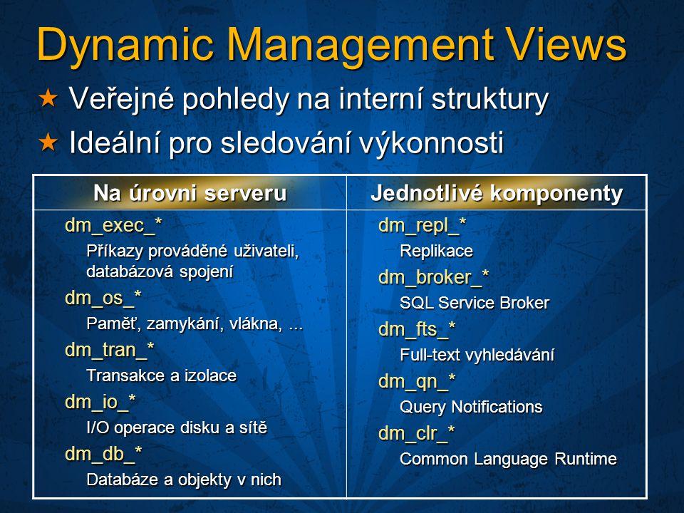 Dynamic Management Views  Veřejné pohledy na interní struktury  Ideální pro sledování výkonnosti Na úrovni serveru Jednotlivé komponenty dm_exec_* Příkazy prováděné uživateli, databázová spojení dm_os_* Paměť, zamykání, vlákna,...