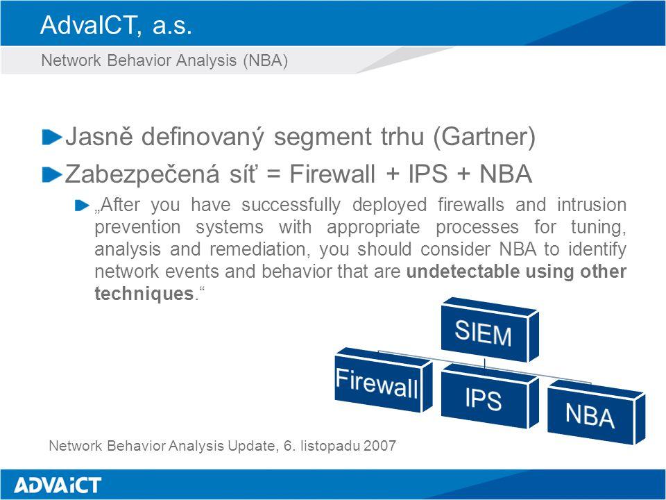 """AdvaICT, a.s. Jasně definovaný segment trhu (Gartner) Zabezpečená síť = Firewall + IPS + NBA """"After you have successfully deployed firewalls and intru"""
