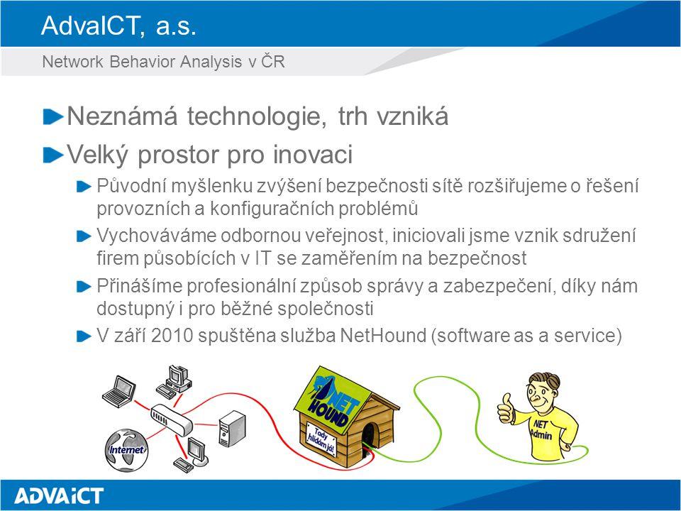 AdvaICT, a.s. Neznámá technologie, trh vzniká Velký prostor pro inovaci Původní myšlenku zvýšení bezpečnosti sítě rozšiřujeme o řešení provozních a ko